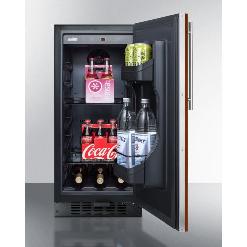 "15"" Wide ADA Compliant All-refrigerator for Built-in or Freestanding Use, With Digital Controls, LED Light, Lock, Panel-ready Door, and Black Cabinet"