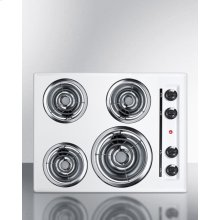 "24"" Wide 220v Electric Cooktop In White With 4 Coil Elements"