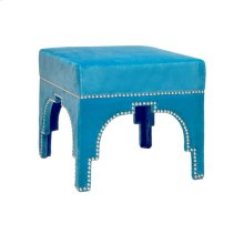 Nickel Nailhead Trim Stool In Turquoise Velvet