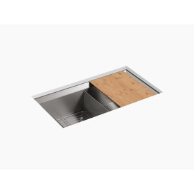 """33"""" X 18"""" X 9-1/2"""" Under-mount Double-equal Bowl Kitchen Sink, Includes Cutting Board and Bottom Bowl Sink Rack"""