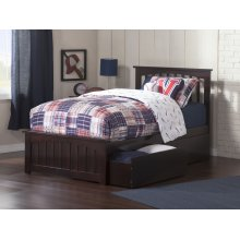 Mission Twin XL Bed with Matching Foot Board with 2 Urban Bed Drawers in Espresso
