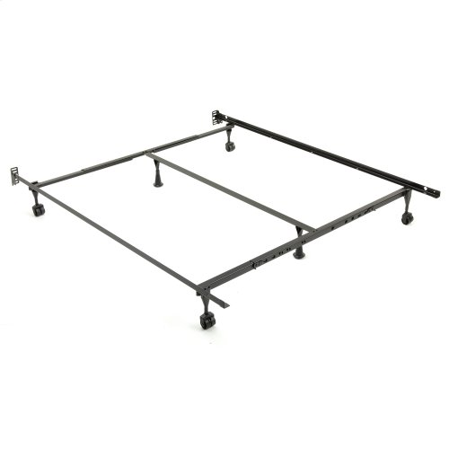 Sentry 79/60-6R Adjustable Bed Frame with Headboard Brackets and (4) 2-Inch Locking Rug Roller Legs, Twin - King