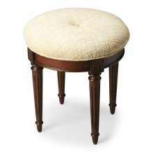 This splendid vanity stool adds formal elegance to any powder or dressing room. Handcrafted from hardwood solids and cherry veneers, it features impeccably carved and tapered legs, ballerina feet, classic Plantation Cherry finish and a comfortable seat up