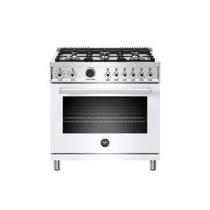 Bertazzoni36 inch Dual Fuel Range, 6 Brass Burner, Electric Self-Clean Oven White