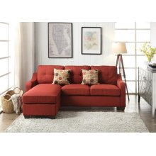 RED SECTIONAL SOFA W/2 PILLOWS
