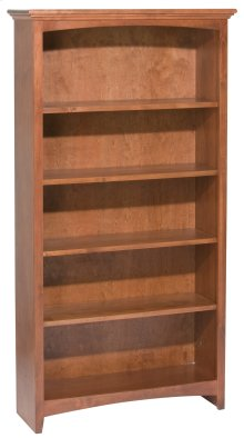 "GAC 60""H x 30""W McKenzie Alder Bookcase in Antique Cherry Finish"