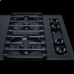 """Summit 30"""" Wide Sealed Burner Gas Cooktop In Black With Cast Iron Grates and Spark Ignition, Made In the USA"""