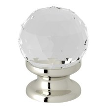 "Polished Nickel Italian Bath Crystal 1 3/16"" Pull Knob"