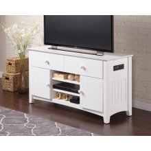 Nantucket 2 Drawer 50 inch Entertainment Console 26x50 with Adjustable Shelves and Charging Station in White