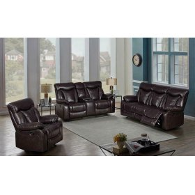 Zimmerman Dark Brown Faux Leather Power Motion Three-piece Living Room Set
