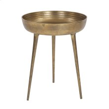 Round Antique Brass Tray Table, Small