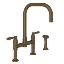 English Bronze Perrin & Rowe Holborn U-Spout Bridge Kitchen Faucet With Sidespray with Metal Levers