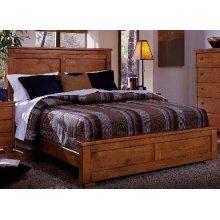5/0 Queen Panel Bed - Cinnamon Pine Finish