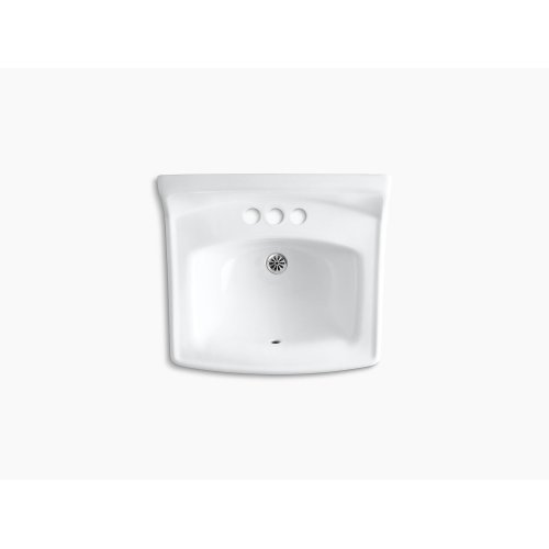 """White 20-3/4"""" X 18-1/4"""" Wall-mount/concealed Arm Carrier Bathroom Sink With 4"""" Centerset Faucet Holes and No Overflow"""