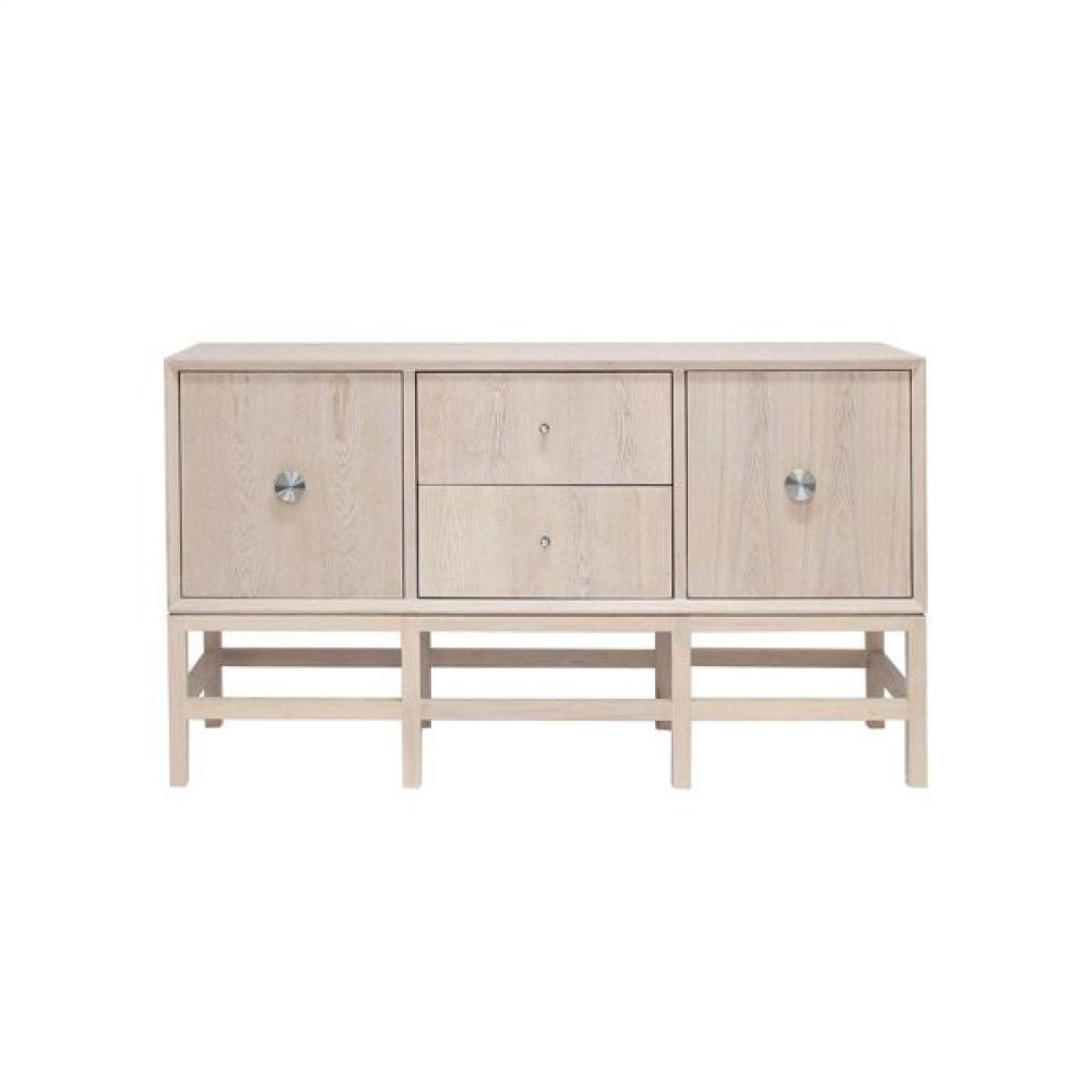 Buffet Cabinet In Cerused Oak With Nickel Hardware.