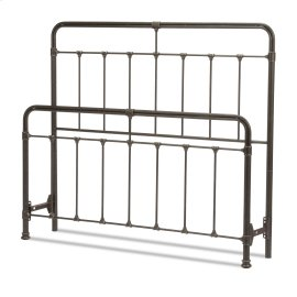 Fairfield Metal Headboard and Footboard Bed Panels with Spindles and Intricate Castings, Dark Roast Finish, Queen