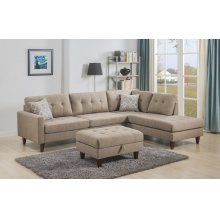 Kourtney Taupe Sectional with Storage Ottoman