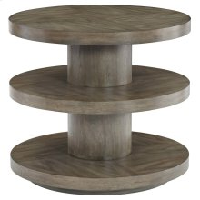 Profile Round End Table in Warm Taupe (378)