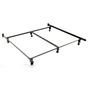 Inst-A-Matic Premium 777R Bed Frame with Headboard Brackets and (6) 2-Inch Locking Rug Roller Legs, Black Finish, King