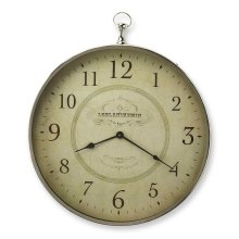 This wall clock is crafted in a round shape that features numerals over a atiqued white face, and a sturdy handle. The clock can be placed on any wall and blends with a variety of decor. Makes a great gift.
