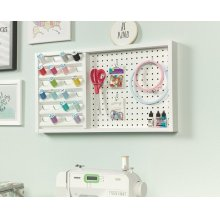 Wall Mounted Pegboard With Thread Storage