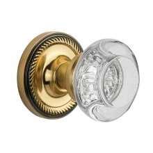 Nostalgic Warehouse - Single Dummy- Rope Rose with Round Clear Crystal Knob in Antique Brass