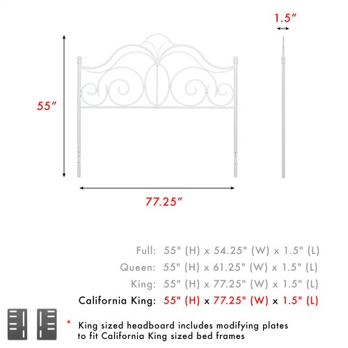 Rhapsody Metal Headboard Panel with Delicate Scrolls and Finial Posts, Glossy White Finish, California King