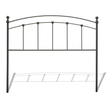 Sanford Metal Headboard Panel with Castings and Round Finial Posts, Matte Black Finish, California King