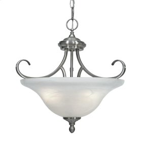 Lancaster Semi-Flush (Convertible) in Pewter with Marbled Glass