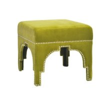 Nickel Nailhead Trim Stool In Lime Green Velvet