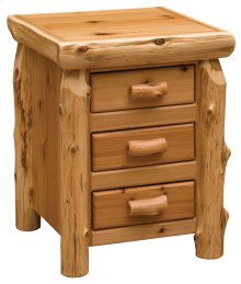 Cedar Three Drawer Nightstand - Half Log Drawer Front - Traditional Cedar