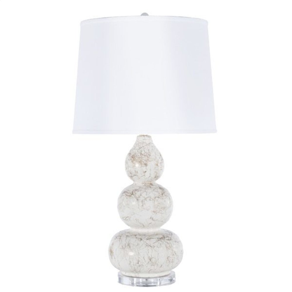 3 Tier White Lamp With Gold Marbling- White Linen Shade- & Lucite Base