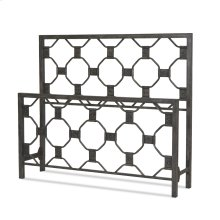 Baxter Metal Headboard and Footboard Bed Panels with Geometric Octagonal Design, Heritage Silver Finish, King