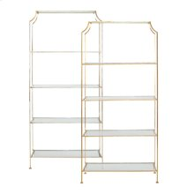 """Gold Leaf Etagere With Clear Glass Shelves Top Shelf 21.5"""" H Remaining Shelves 17.5"""" H"""