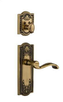 Grandeur - Single Cylinder Combo Pack Keyed Differently - Parthenon Plate with Portofino Lever and Matching Deadbolt in Vintage Brass