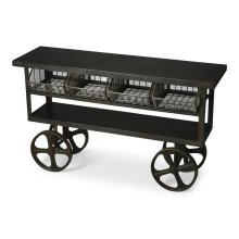 This industrial chic trolley buffet is an eye-catching addition. Made from cast iron, it features four mesh trays and two shelves Its scale and storage space makes it great for use in many ways - including in the kitchen, living or multi-purpose room, or