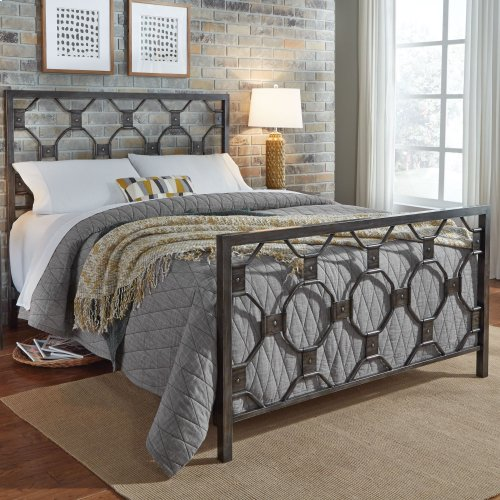 Baxter Complete Metal Bed with Geometric Octagonal Design, Heritage Silver Finish, King