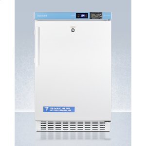 """SummitADA Compliant 20"""" Wide Built-in Undercounter All-refrigerator for Healthcare Applications, Frost-free With an Internal Fan, External Digital Controls and Nist Calibrated Thermometer, and Lock"""