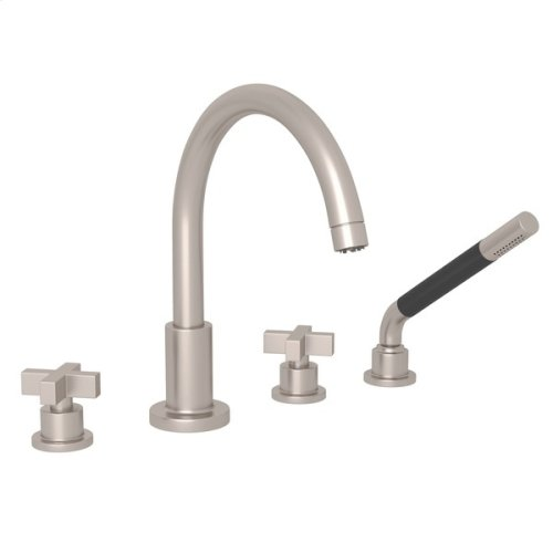 Satin Nickel Pirellone 4-Hole Deck Mount Tub Filler With Handshower with Cross Handle
