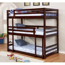 Isaac Espresso Triple Twin Bunkbed