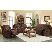 Basha Brown Fabric Reclining Sofa