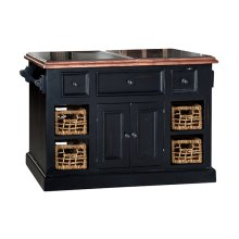 Tuscan Retreat® Large Granite Top Kitchen Island With Baskets - Black With Antique Pine Top