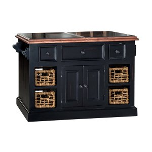 Hillsdale FurnitureTuscan Retreat(r) Large Granite Top Kitchen Island With Baskets - Black With Antique Pine Top