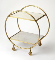 Build a home bar that's just as stylish as it is ideal for entertaining with this eye-catching cart. Founded atop four castered feet for easy mobility between the den and dining room, this piece features a circular frame crafted from iron with a striking