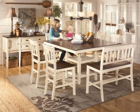 Whitesburg - Brown/Cottage White Counter EXT Table with Barstools