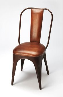 Form and function meet in this sleek chair. Natural leatheraccentuates the metal body of the chair. Providing both support and style, it'll be a joy to sit back and enjoy the show with this chair in your home.