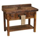 Barnwood Freestanding Open Vanity with Shelf and Two Drawers - without Top - Barnwood Legs - with Towel Bar Product Image