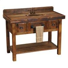 Barnwood Freestanding Open Vanity with Shelf and Two Drawers - Artisan Top - Barnwood Legs - with Towel Bar