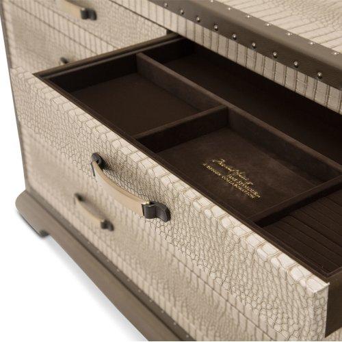 Upholstered 2 PC Dresser W/ Mirror Amazon Tan Gator