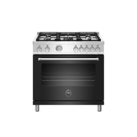 36 inch All Gas Range, 5 Burners Matt Black